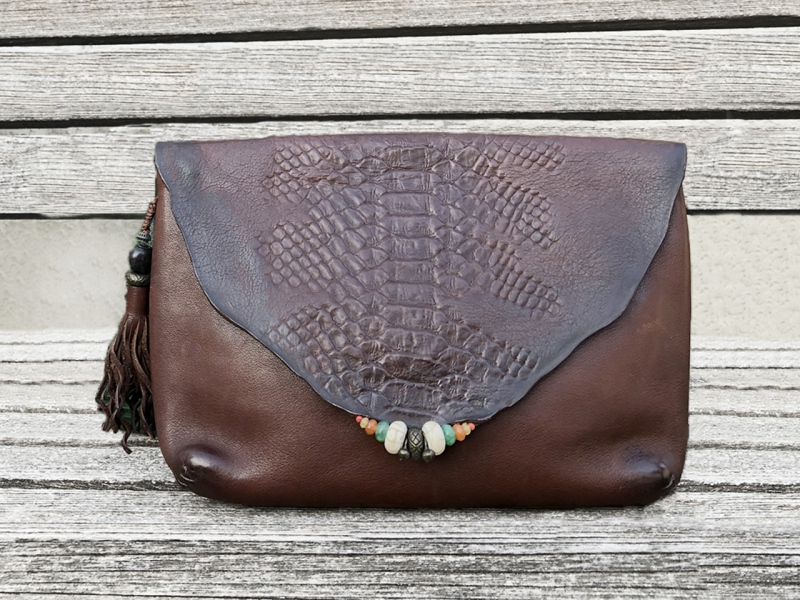 Embossed Brown Clutch