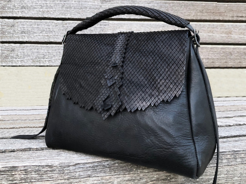 Origami Black Satchel