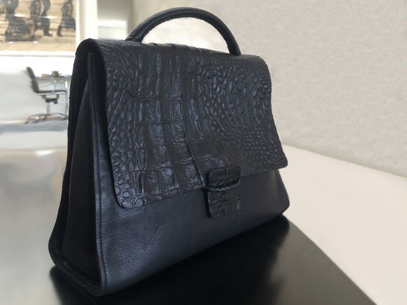 Embossed Black Satchel