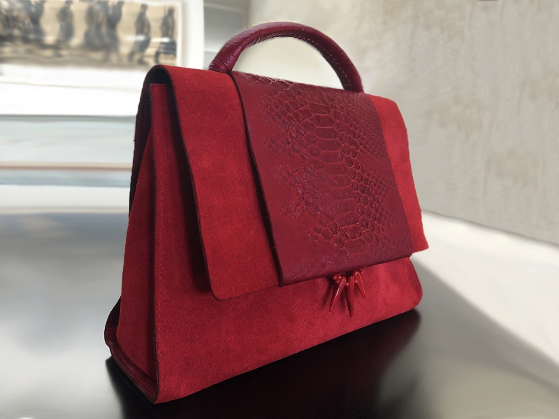 Red Embossed Satchel